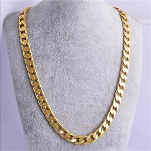 """24""""7mm Gold Plated Cuban Link Chain"""